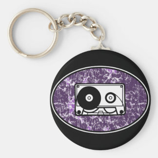 Retro Cassette Tape Purple Basic Round Button Keychain