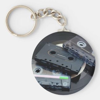 Retro Cassette Tapes Basic Round Button Keychain
