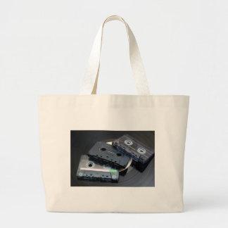 Retro Cassette Tapes Large Tote Bag