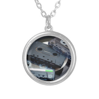 Retro Cassette Tapes Silver Plated Necklace