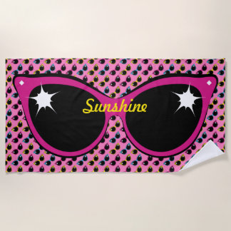 Retro Cat Sunglasses Pattern with Pink Beach Towel