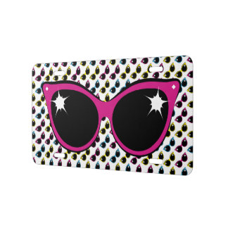 Retro Cat Sunglasses Pattern with Pink License Plate