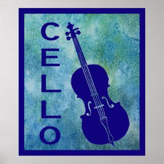 Retro Cello on Blue Poster
