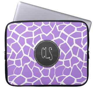 Retro Chalk; Amethyst Purple Giraffe Animal Print Computer Sleeve