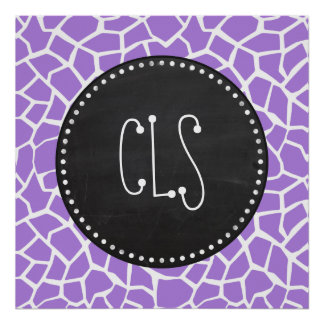 Retro Chalk; Amethyst Purple Giraffe Animal Print