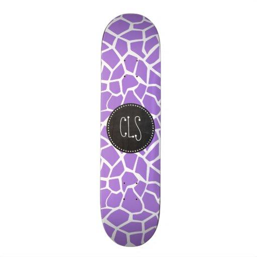 Retro Chalk; Amethyst Purple Giraffe Animal Print Skate Decks