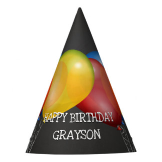 Retro Chalkboard and Balloons Birthday with Name Party Hat