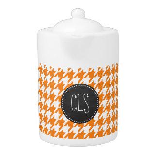 Retro Chalkboard; Cadmium Orange Houndstooth