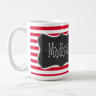 Retro Chalkboard Cadmium Red Stripes; Striped Coffee Mug