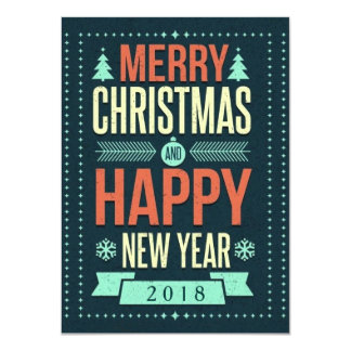 Retro Chalkboard Typography Christmas Party Custom Invite