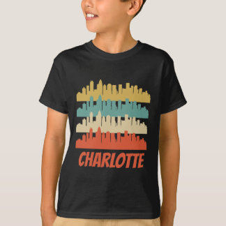 Retro Charlotte NC Skyline Pop Art T-Shirt
