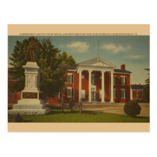 Retro Charlottesville Civil War Monument Postcard