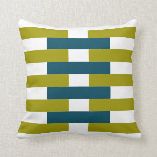 Retro Chartreuse & Aqua Bar Graphic Throw Pillow