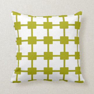 Retro Chartreuse Green Grid Throw Pillow