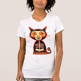 Rétro chat effrayant de crâne tee-shirts