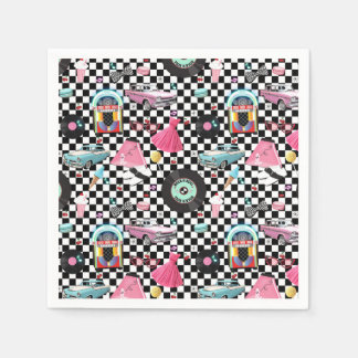 Retro Checker 50's Fifties Theme Birthday Party Paper Napkins