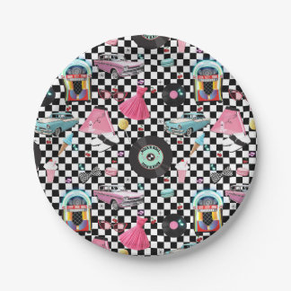 Retro Checker 50's Fifties Theme Birthday Party Paper Plate