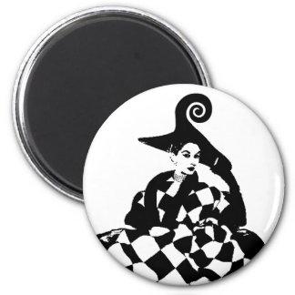 Retro Checker & Swirl High Fashion Woman Magnet