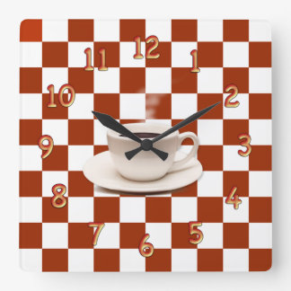 Retro Checkerboard Pattern With Cup And Saucer Square Wall Clock