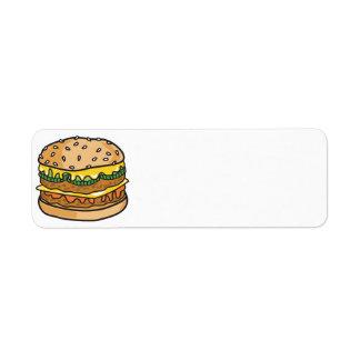 retro cheese hamburger return address labels