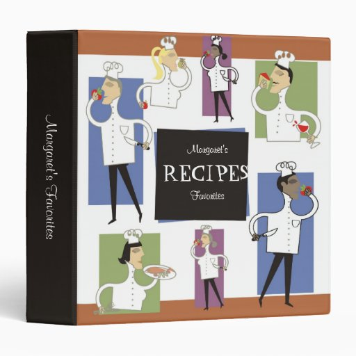 Retro chefs with food cooking baking recipe binder