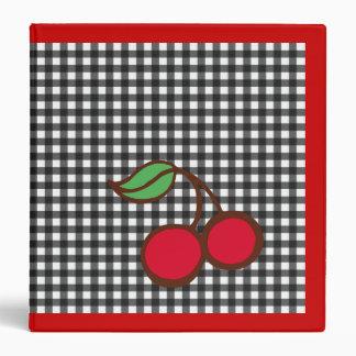 Retro Cherry Gingham Kitchen School Binder
