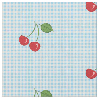 Retro Cherry Gingham Pattern Fabric