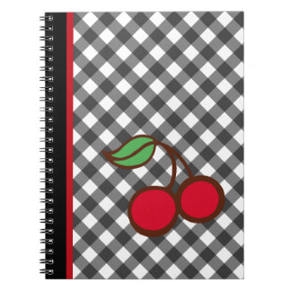 Retro Cherry Gingham School Kitchen Notebook