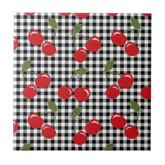 Retro Cherry Gingham Tile