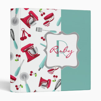 Retro Cherry Kitchen Gadgets Personalized Monogram 3 Ring Binder