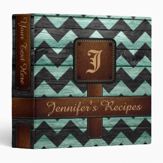 Retro Chevron Monogram Recipe #11 Binder
