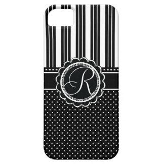 Retro Chic Monogram R Elegant Black and White iPhone 5 Cover