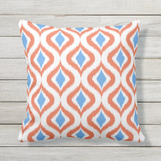 Retro Chic Orange Blue Ikat Drops Pattern Throw Pillow
