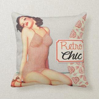 "Retro Chic Pin Up Girl Throw Pillow 16"" x 16"""