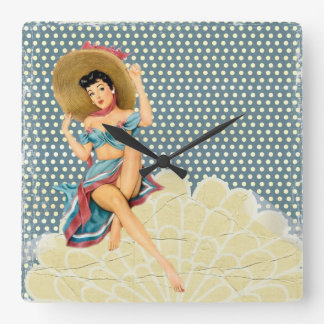 Retro Chic Pinup Girl Clock