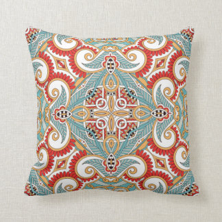 Retro Chic Pretty Red Teal Floral Mosaic Pattern Throw Pillow