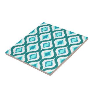Retro Chic Teal Aqua Turquoise Ikat Drops Pattern Tile