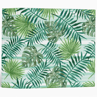 Retro Chic Tropical Green Palm Leaves Pattern 3 Ring Binders