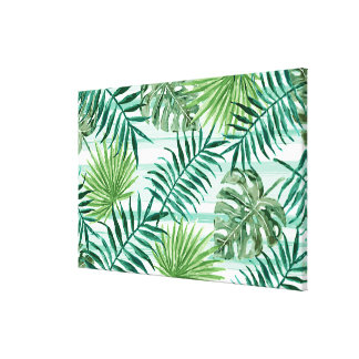 Retro Chic Tropical Green Palm Leaves Pattern Canvas Print