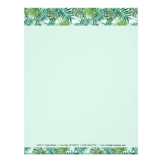 Retro Chic Tropical Green Palm Leaves Pattern Letterhead