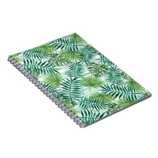 Retro Chic Tropical Green Palm Leaves Pattern Spiral Notebook