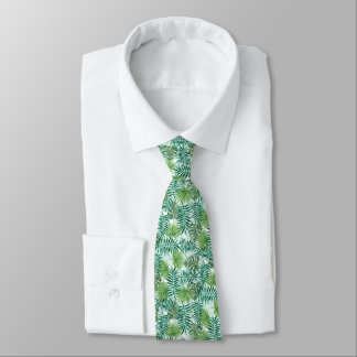 Retro Chic Tropical Green Palm Leaves Pattern Tie