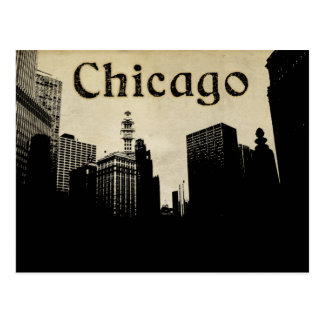 Retro Chicago Skyline Artwork Postcard