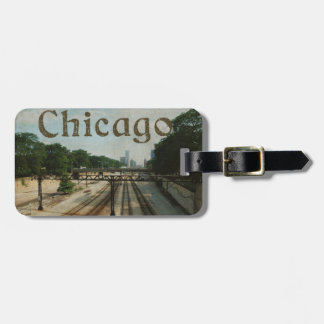 Retro Chicago Train Tracks Luggage Tag