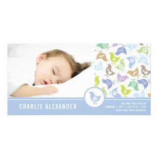Retro Chicks Boy Birth Announcement Photo Card