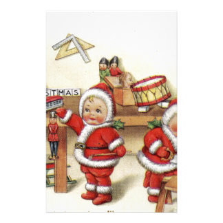 Retro Christmas art baby Santa's by fireplace cute Stationery
