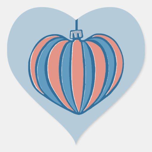 Retro Christmas Balls heart blue Heart Sticker