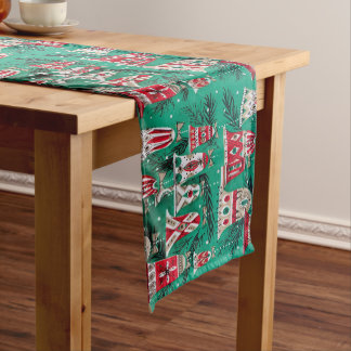 Retro Christmas, Bell Ornaments, Vintage, Medium Table Runner