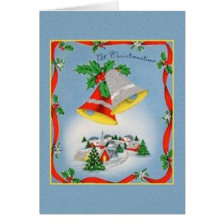 Retro Christmas Bells Greeting Card