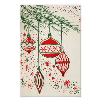 Retro Christmas bulbs Holiday poster